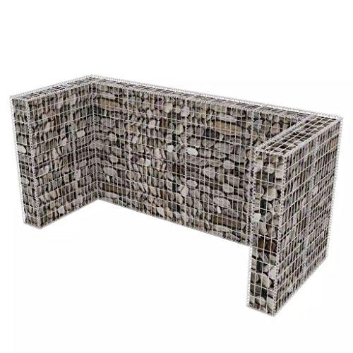 mewmewcat Gabione Mülltonnenbox Mülltonnenverkleidung für 3 Mülltonnen U-förmig 250 x 100 x 120 cm Stahl