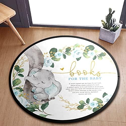 Lindo bebé elefante flor niños juego alfombra antideslizante alfombra redonda bebé actividad alfombra niño alfombra piso alfombra para dormitorio sala de juegos infantil decoración (92 x 92 cm)