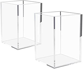 NIUBEE Acrylic Pencil and Pen Holder 2Pack Clear