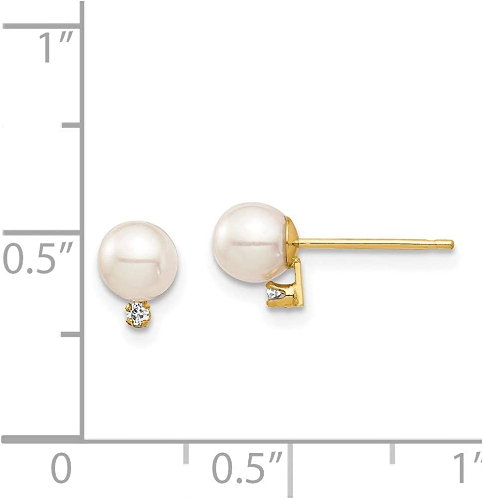 14k Yellow Gold 5mm White Round Freshwater Cultured Pearl .02ct Diamond Post Stud Earrings Ball Button Fine Jewelry For Women Gifts For Her