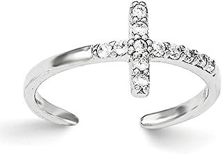 Lex & Lu Sterling Silver CZ Cross Toe Ring
