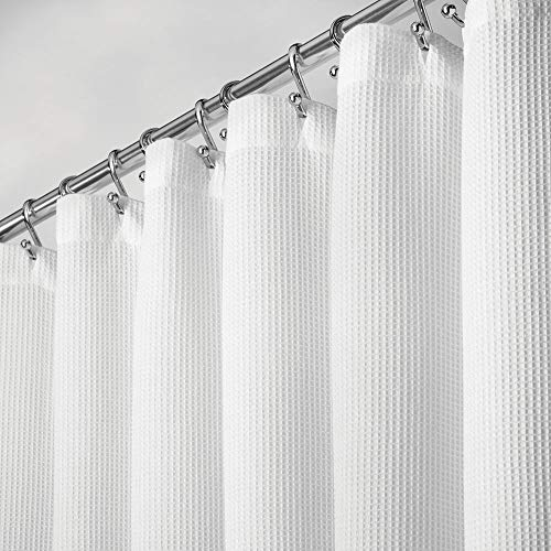 mDesign Premium 100% Cotton Waffle Weave Fabric Shower Curtain, Hotel Quality - for Bathroom Showers and Bathtubs, Super Soft, Easy Care - 72' x 72' - White