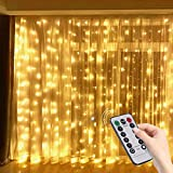 Hatstart 300 LEDs Window Curtain String Lights,8 Modes Control Fairy Lights Remote...