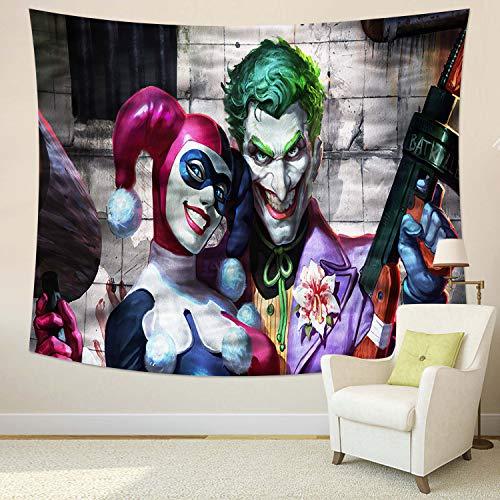 MEWE Joker Tapestry Joker and Harley Quinn Tapestry Wall Hanging for Bedroom 59x70in