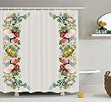 Viktorianische Rose Girlande in Pastelltönen Jasmin Kornblume Bouquet Klassische Blüte Grafik rot gelb grün Duschvorhang wasserdicht Badezimmer Dekor Polyester Stoff Vorhang Sets Haken 60 x 72 Zoll