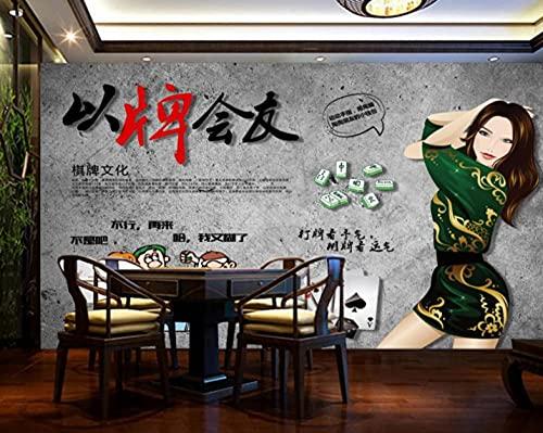 Estilo Chino Mahjong Cultura Ocio Entretensión Ajedrez Sala De Ajedrez Fondo De Ajedrez Personalizado Papel Tapiz 3D-300Cmx210Cm