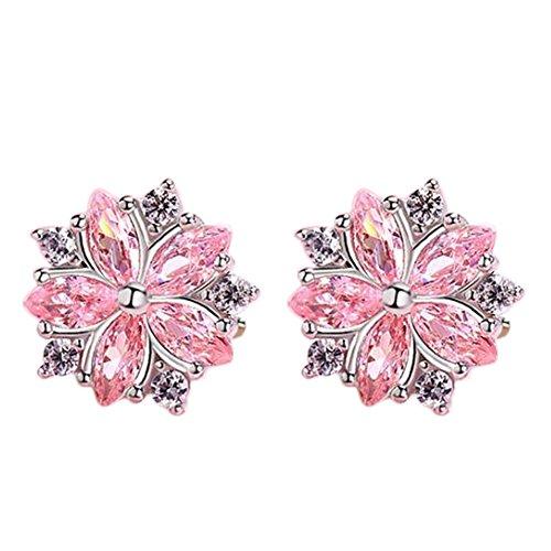 Cosanter Pendientes de Diamantes de Color Rosa Simple Temperamento Dulce Coreano Pendientes creativos