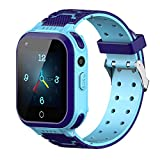4G Kids Smart Watches, IP67 Waterproof LBS WiFi GPS Tracker Children Smartwatch Phone Call for Boys Girls, Touch Screen Cellphone Camera Voice Video Chat Anti-Lost SOS Learning Toy (Blue)