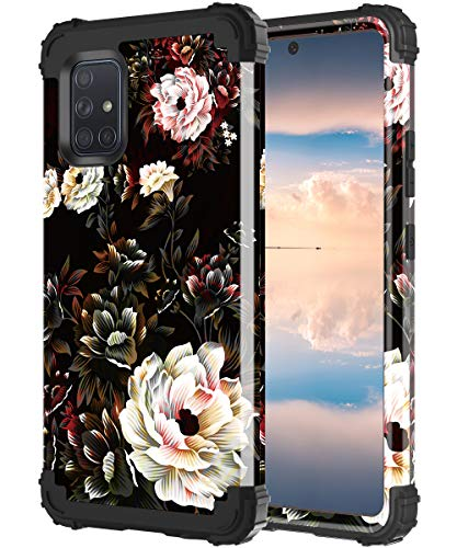 Lontect for Galaxy A71 5G Case [Not Fit Verizon A71 5G UW & A71 4G Version] Floral Shockproof Heavy Duty 3 in 1 Hybrid Sturdy Protective Cover Case for Samsung Galaxy A71 5G 2020, White Flower/Black