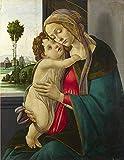 JH Lacrocon Sandro Botticelli - Virgen Niño Reproducción Cuadro sobre Lienzo Enrollado 70X90 cm - Pinturas Cristiano Impresións Decoración Muro