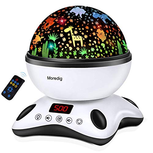 Moredig Sternenhimmel Projektor Kinder, Nachtlicht Baby mit Musik 360° Rotation + 12 Beruhigende Musik + 8 Romantische Licht, Geschenke für Kinder, Geburtstage, Halloween usw - Schwarz und Weiß