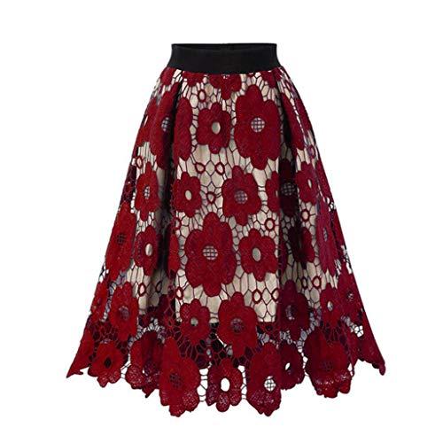 Damen Rock Spitze 1950 Petticoat Reifrock Unterrock Petticoat Underskirt Crinoline für Rockabilly Kleid Skater Röcke (XXXL, Rot)