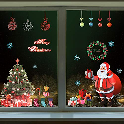 BELLE VOUS Weihnachtsdeko Fensteraufkleber mit Weihnachts Motiven(4 Stück) Großer Weihnachtsmann, Weihnachtsbaum, Schneeflocke, Merry Christmas Fensteraufkleber PVC Fensterfolie für Haus Fenster Tür