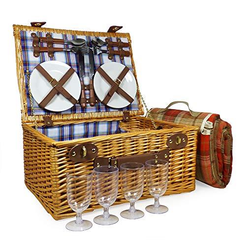 Fine Food Store Henley 4 persone attrezzato cestino di vimini da picnic con viola coperta impermeabile scozzese - Regalo per la festa della mamma