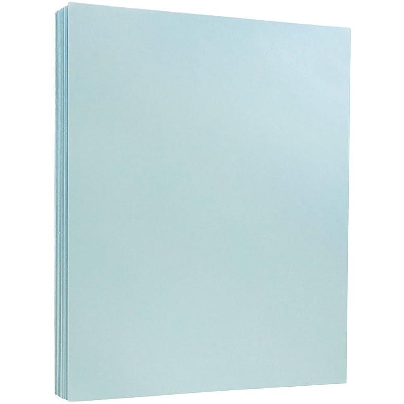 JAM PAPER Vellum Bristol 110lb Index Cardstock - 8.5 x 11 Coverstock - Blue Vellum - 50 Sheets/Pack
