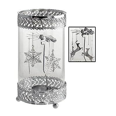 KOVOT Holiday Metal Spinning Tea Light Holder | Christmas Theme Tea Light Holder (Reindeer/Snowflake)