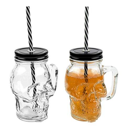 3D Totenkopf Glas Trinkglas mit Deckel und stabilem Strohhalm 300ml 2er-Set
