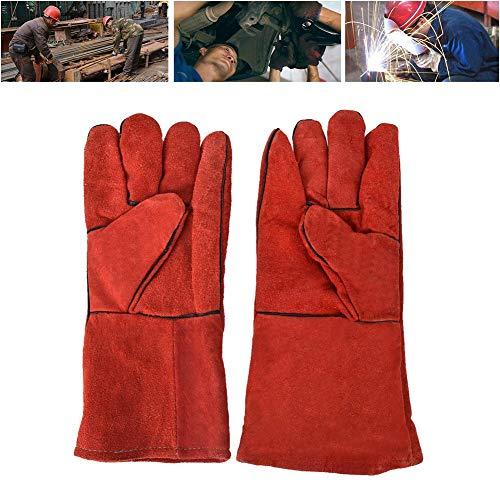 【𝐂𝐡𝐫𝐢𝐬𝐭𝐦𝐚𝐬 𝐆𝐢𝐟𝐭】Guantes de trabajo de cuero, guantes antidesgaste de seguridad térmica Guantes de cuero de vaca para soldar para barbacoa, acampar, cocinar, hornear, soldador(rojo)