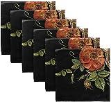 Set di 4 tovaglioli di stoffa ricamati con stampa floreale Giorno del teschio rosa gotica Dia De Los Muertos tovaglioli di stoffa in poliestere lavabile 20 'x 20' per tavolo da pranzo Festa di ma