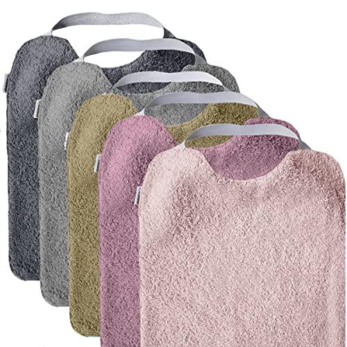 MIMUSELINA Pack 5 BABEROS RIZO GUARDERÍA con goma para fomentar AUTONOMÍA. Lavables, interior IMPERMEABLE y exterior RIZO ABSORBENTE máxima calidad. Babero goma cuello (DREAM)