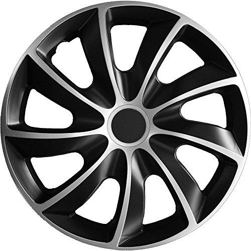 Autoteppich Stylers (Größe wählbar) 16 Zoll Radkappen/Radzierblenden Q2 Bicolor (Schwarz-Silber) passend für Fast alle Fahrzeugtypen – universal