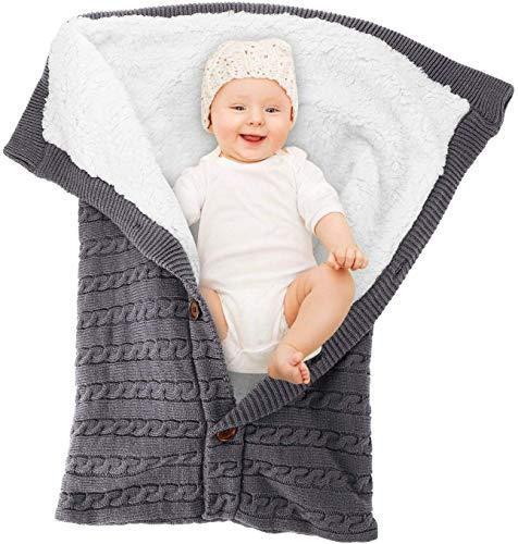 Manta para bebé recién nacido con terciopelo para cochecito de bebé, manta de forro polar suave y cálida para niños y niñas Saco de Dormir para Bebé (gris)