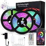 Bewahly Tiras LED 15M, Bluetooth RGB Tiras de Luces LED, Control de APP y Remoto Control, 16 Millones de Colores, Sincronización de Música, Tira de Luz LED para Habitación, Techo, Fiesta y Decoración