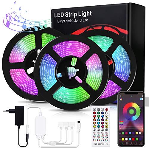 Bewahly LED Strip 15M, Bluetooth RGB LED Streifen, Dimmbar LED Lichtband mit Fernbedienung, Steuerbar via App, LED Stripes Sync mit Musik, Farbwechsel LED Band Selbstklebend für Zuhause, Party, Bar