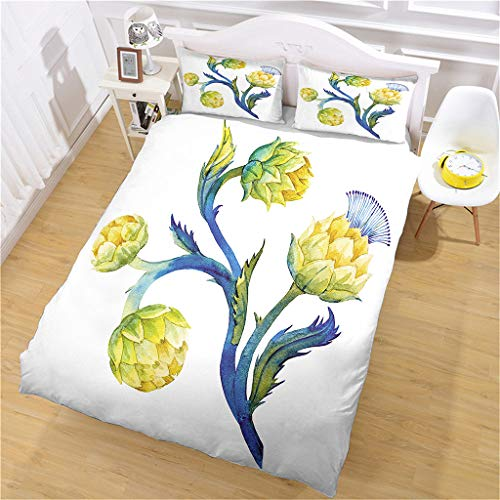 LCJYXNP 3D Yellow Flower Art Printed Pattern Bedding Duvet Cover Set, Easy Care And Super Soft Microfiber Polyester Quilt Covers, Double Size 260X220 cm + 2 Matching Pillowcase 50X75cm