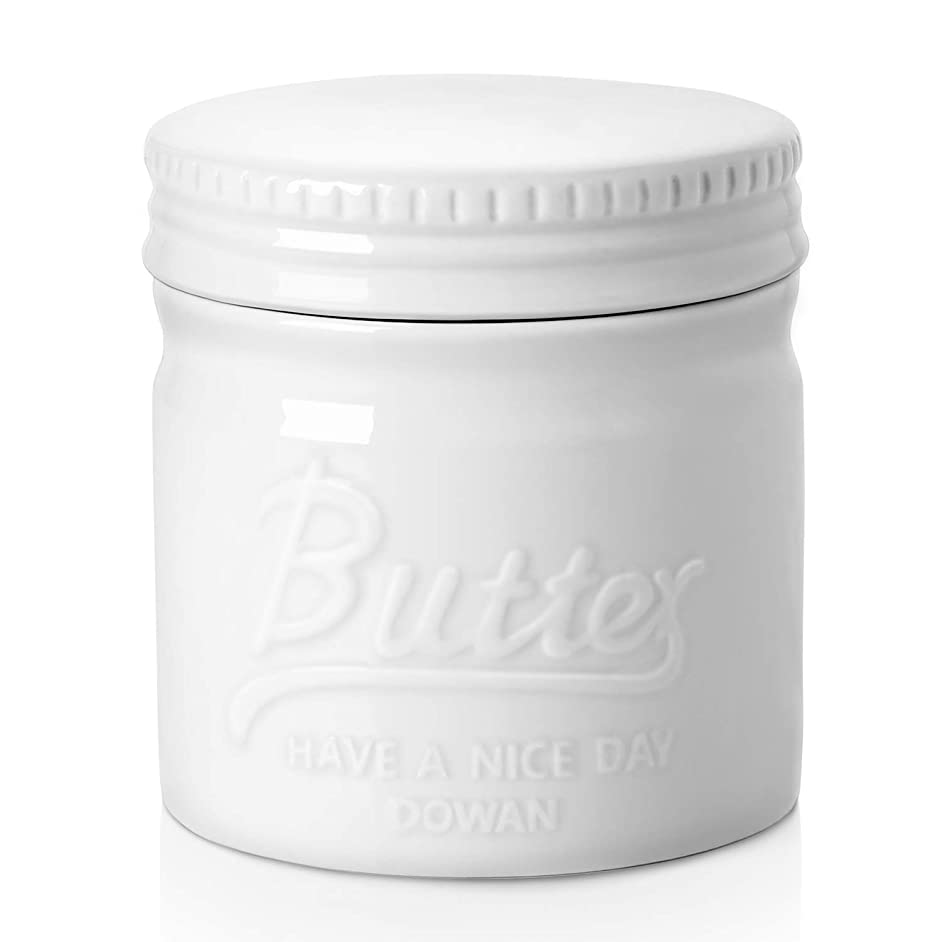 DOWAN Porcelain Butter Keeper Crock, Mason Jar Type Butter Crock, French Butter Dish, No More Hard Butter, Perfect Spreadable Consistency, White