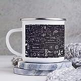 Divertente tazza da caffè smaltata, con smalto da 283,5 ml, per esterni, con tecnologia astratta chimica scientifica in lavagna, tazza da caffè, tazza da caffè, per San Valentino e compleanno