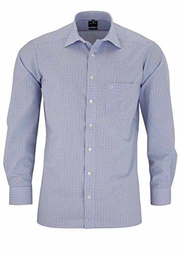 Herren Hemd Luxor Modern Fit Langarm, blau kariert, M (40)