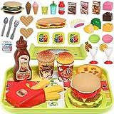 GeyiieTOYS 36 Stück Küchenspielzeug für Kinder, Essen Spielen Set Lebensmittel Spielzeug Set, DIY Hamburger, Schneiden Obst, Kinderküche Rollenspiele Spielzeug, Geschenk für Jungen und Mädchen