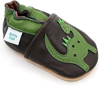 Dotty Fish Zapatos de Cuero Suave para bebés. Antideslizante. Marrón con Dinosaurio Verde. 12-18 Meses (21 EU)