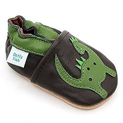 Dotty Fish weiche Leder Babyschuhe mit rutschfesten Wildledersohlen. Kleinkind Schuhe. Krabbelschuhe. Jungen. Braune und grüne Dinosaurier. 2-3 Jahre (25 EU)