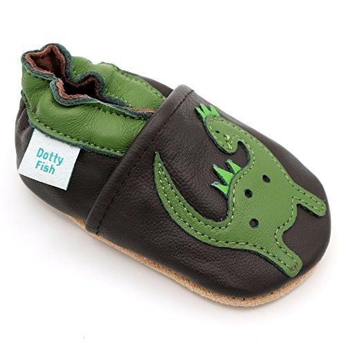 Dotty Fish Chaussures Cuir Souple pour Tout-Petits et Bébé. Garçons et Filles. Brun avec Dinosaure Vert. 6-12 Mois (19 EU)