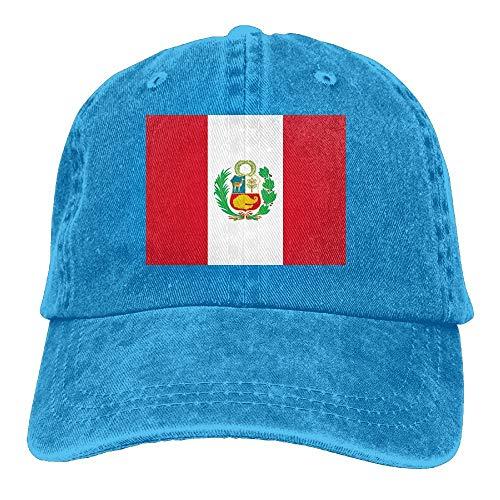 Yaxinduobao Gorra Vaquera Vaquera Flag of Peru Unisex Adult Denim Dad Baseball Hat Sports Outdoor Cowboy Cap For Men and Women