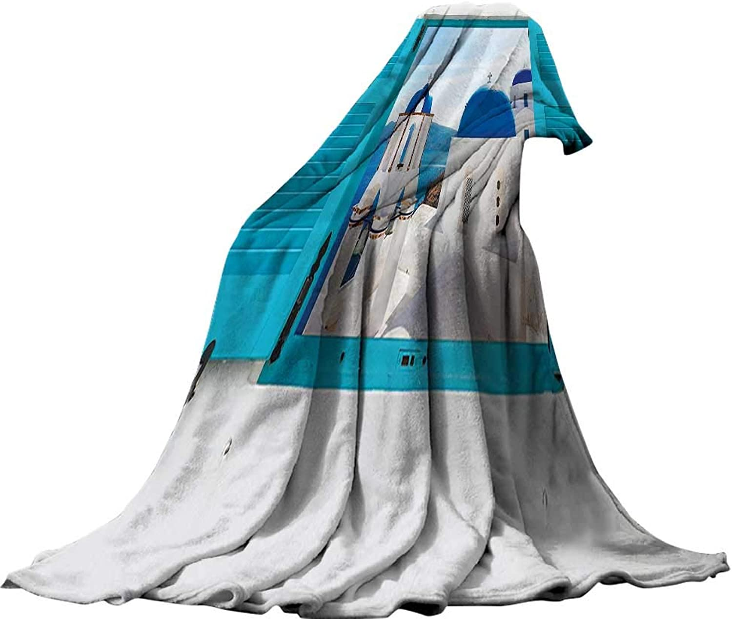 QINYAN-Home Super Soft Lightweight Blanket (60 x60 ) Summer Quilt Comforter House Decor Window with View of Classical Church with bluee Domes Oia Santorini Greece.