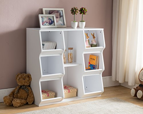 Kings Brand Furniture White Finish Wood Cubby Storage Cabinet Unit