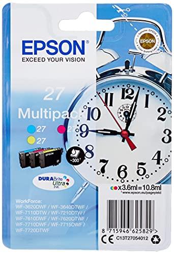 Epson Original 27 Tinte Wecker (WF-3620DWF WF-3640DTWF WF-7110DTW WF-7210DTW WF-7610DWF WF-7620DTWF WF-7710DWF WF-7715DWF WF-7720DTWF, Amazon Dash Replenishment-fähig) Multipack 3-farbig