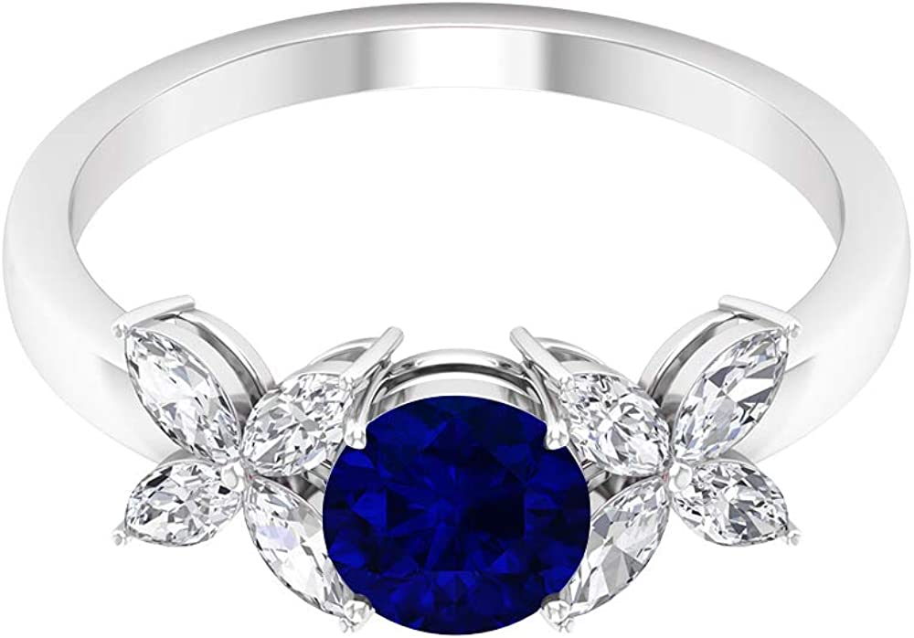 1.05 Store CT Solitaire Blue Sapphire Ring Marquise HI-SI MM Cut 4X2 NEW