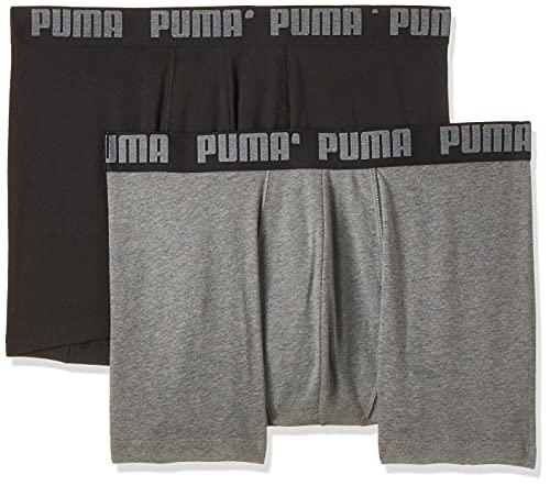 PUMA Basic Boxer 2p Costume da Bagno, Grigio (Dark Grey mélange/Black 691), Medium (Taglia Produttore: 020) (Pacco da 2) Uomo