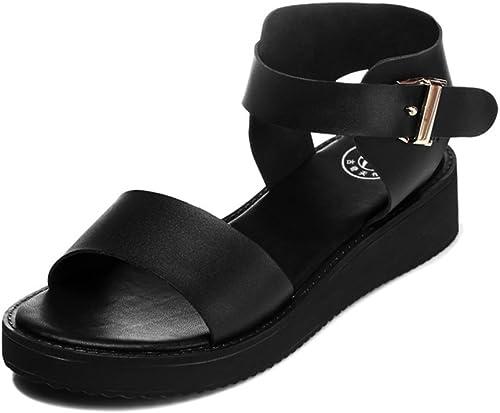 Femmes Sandales Plates Sandales Sandales Sandales à Plateforme Peep-Toe Version coréenne de la Boucle de Chaussure Chaussures de Sport étudiant e89