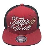 Outfitfabrik Snapback Cap Tattoo Kartell in rot/schwarz mit 3D Stick in weiß, Schirm-Unterseite mit...