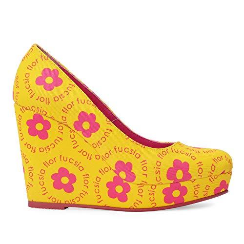 Salon Plataforma Mujer Amarillo-Flores-Fucsia Talla 37