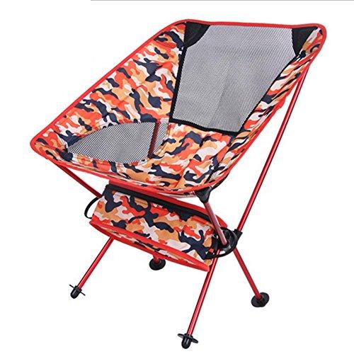 Chaise de camping pliante portable ultraléger, lune Sac à dos compact et léger respirant Stuck-slip-proof Pieds pour Camp d'extérieur, randonnée avec un sac (53,3 cm L x 35,6 cm W X 66 cm H)