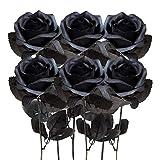 Kalolary rosa artificiale, 6 pezzi fiori di seta fiore fiori finti bellissimi fiori finti realistici per bouquet da sposa fai da te decorazioni per la casa (Nero)