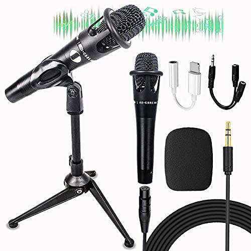 Micrófono de mano premium cardioide dinámico de mano, micrófonos dinámicos multiusos con cable XLR desmontable de 5,8 m para cantar/altavoz/máquina de karaoke, habla/escenario negro (E-300) (C)