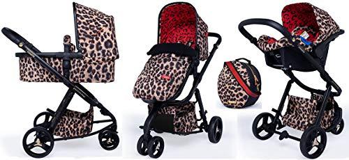 Cosatto Paloma Faith Giggle 3 Pram Set (5pcs) – Travel System From Birth, Baby Car Seat, Adapters, Change Bag, Footmuff (Hear Us Roar)
