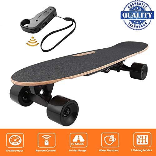 fiugsed Elektrisches Skateboard - 27,5 Zoll Longboard Skateboard mit Funkfernbedienung auf Vier Rädern,Höchstgeschwindigkeit 20km/h zu Senden des Ladegeräts Fernbedienung*